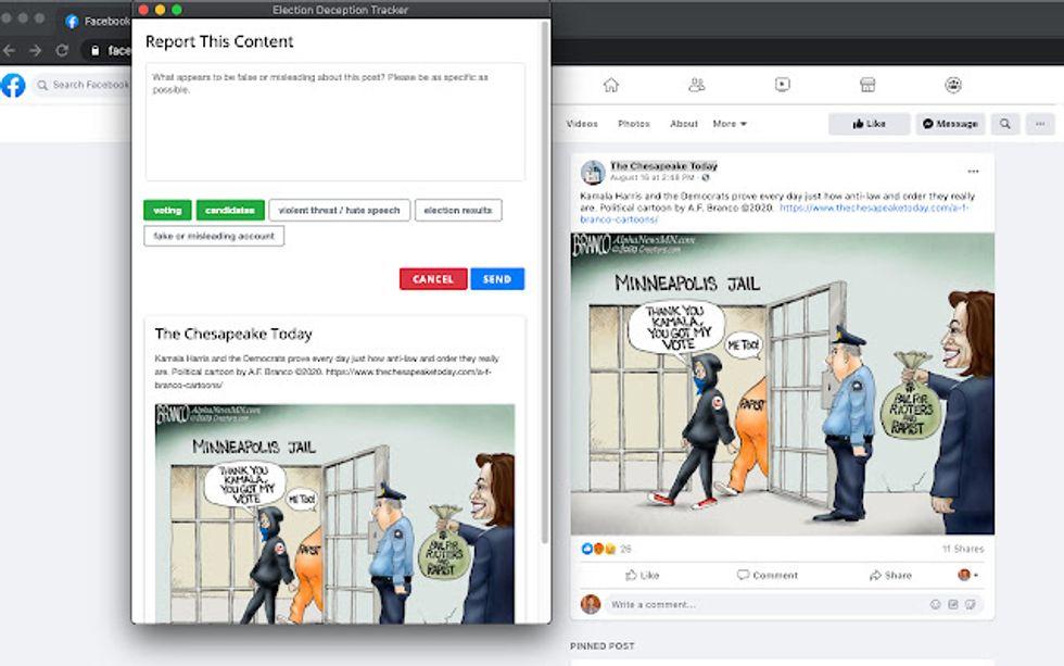 MapLight misinformation tool