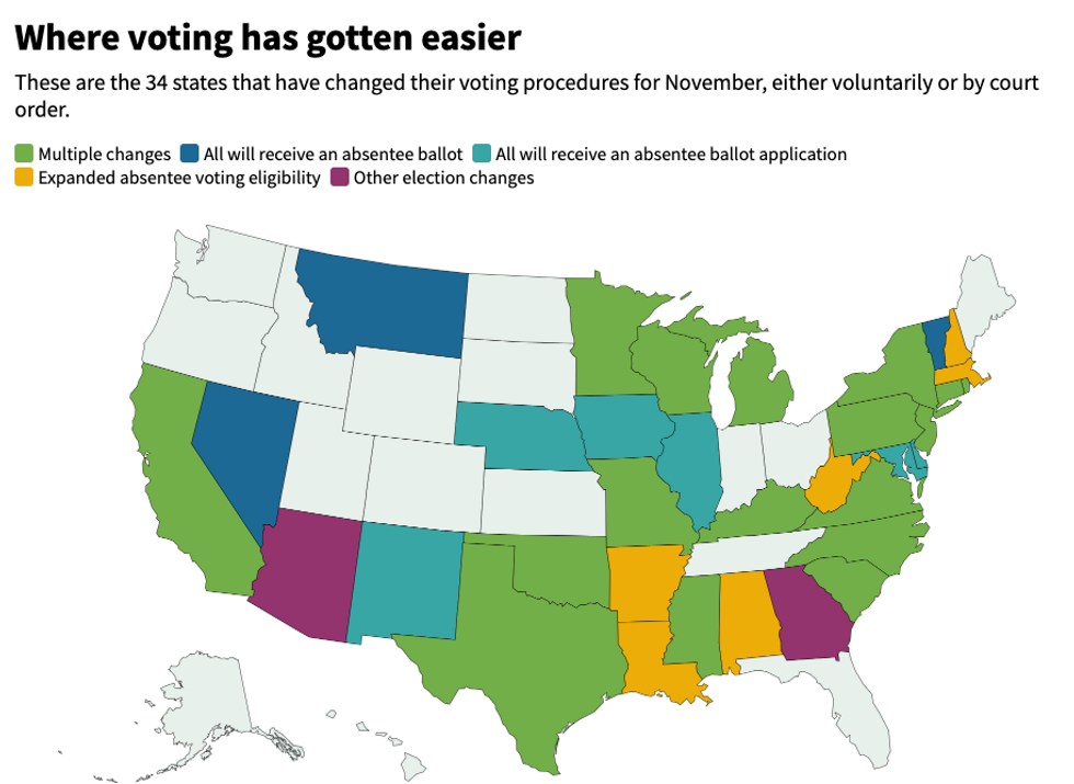 These are the 34 states that have changed their voting procedures for November, either voluntarily or by court order.