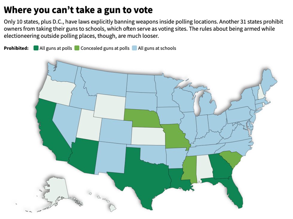 Map of gun laws at voting locations
