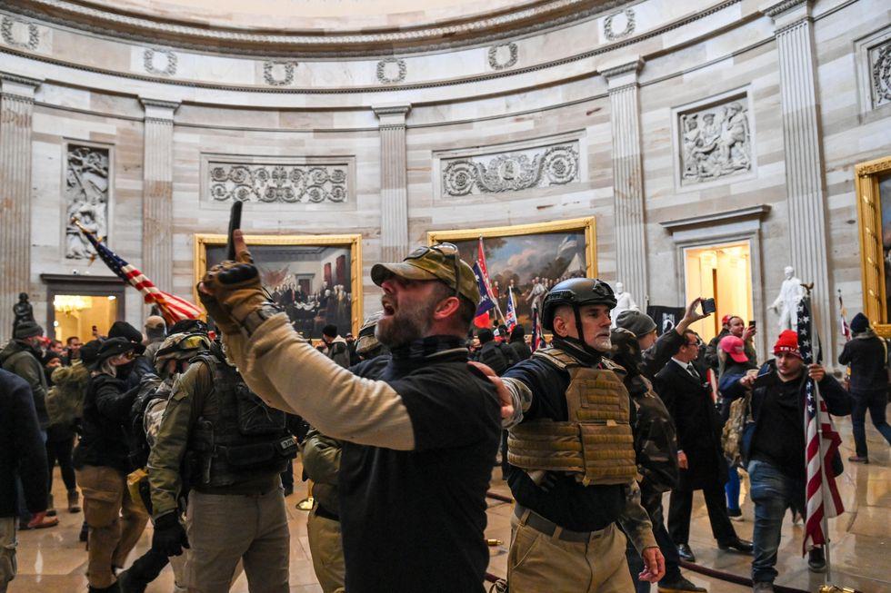 Rioters in Capitol Rotunda