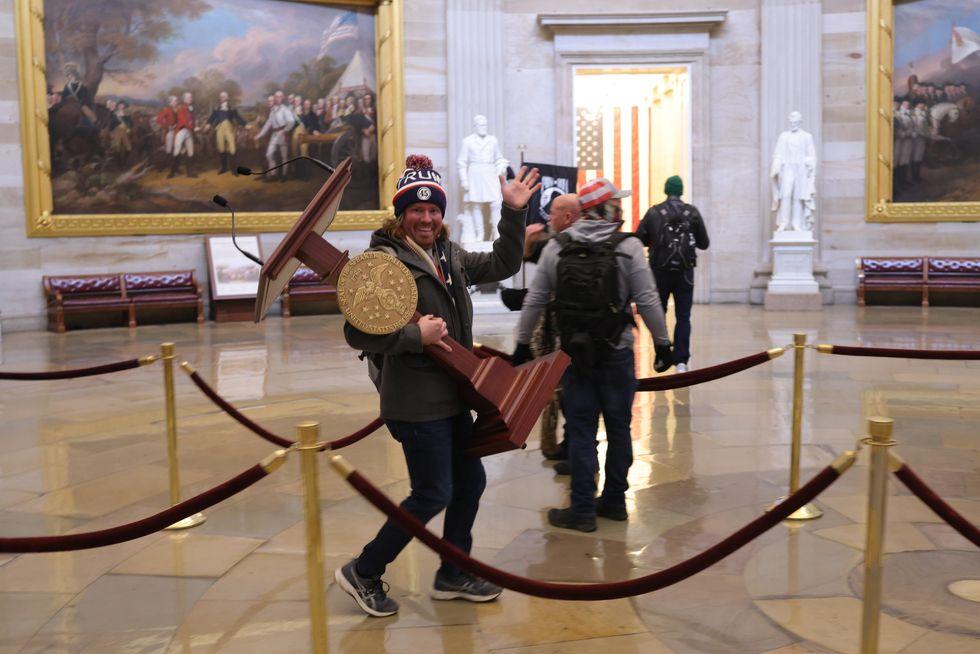 Protestor in Capitol Rotunda
