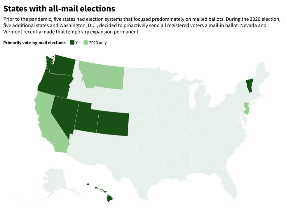 Map of states with all vote-by-mail elections