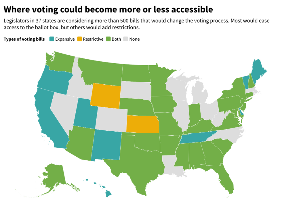 States with legislation to change voting rules